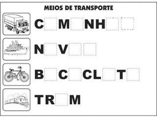 Jogos e atividades para alfabetização - Complete as palavras - Meios de Transporte