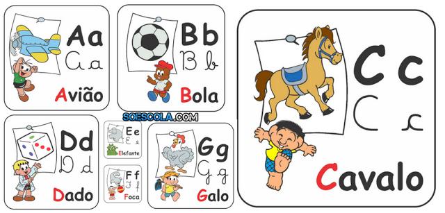 Alfabeto Ilustrado De Parede Turma Da Monica So Escola