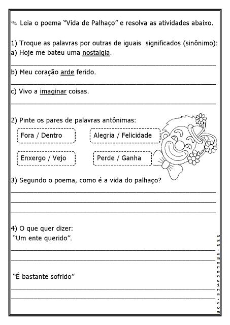 Nesta postagem trago para vocês um Poema e Atividades - Vida de Palhaço, indicada a alunos do quinto ano do Ensino Fundamental.