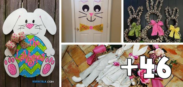 50 ideias de decoração de portas para Páscoa