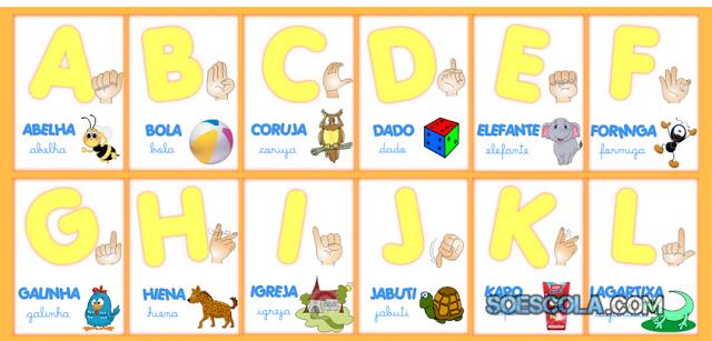 Nesta postagem trago para vocês um Alfabeto completo em Libras pronto para imprimir.