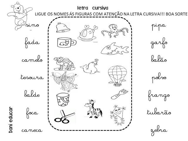 Atividades com Letras Cursivas - Ligue Nomes