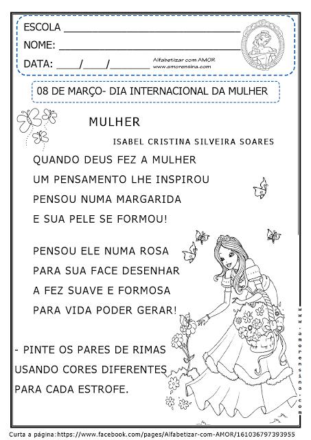 Dia da Mulher: Atividades para Imprimir para primeiro e segundo ano do Ensino Fundamental