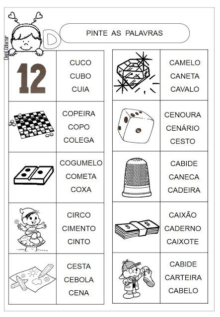 Prática de Leitura - Atividades com a Letra A,B, C e D