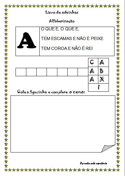 Fabuloso Livro de Adivinhas com Letras do Alfabeto — SÓ ESCOLA ZX68
