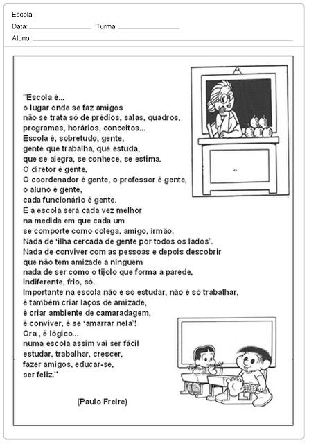 Atividades – Dia da Escola para imprimir – 15 de Março