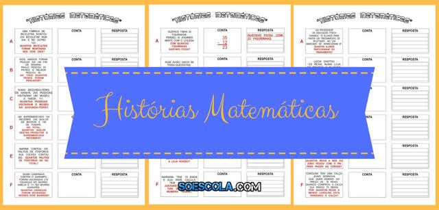 Atividades para Imprimir - Histórias Matemáticas
