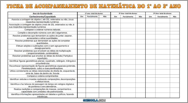 Ficha de Acompanhamento de Matemática do 1º ao 3º ano