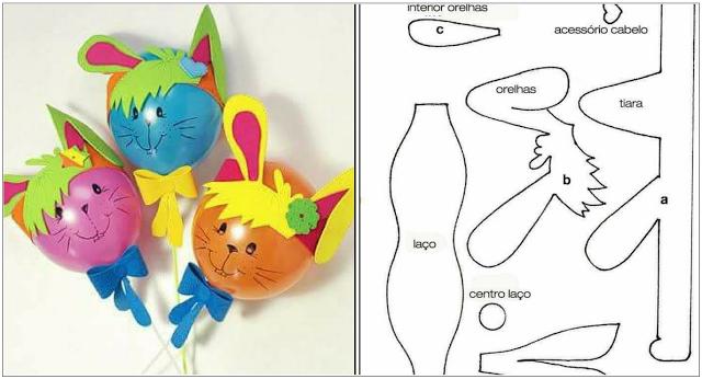 Lembrancinha com balão e moldes