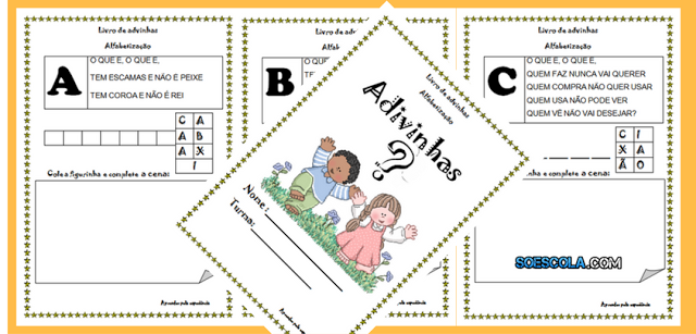 Livro de Adivinhas com Letras do Alfabeto