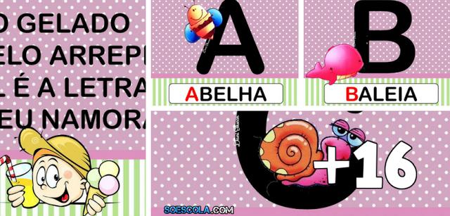 Parlenda suco gelado com alfabeto colorido