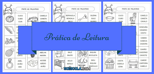 Nesta postagem trago para vocês atividades prontas para imprimir com as letras A, B, C e D - Práticas de Leitura.