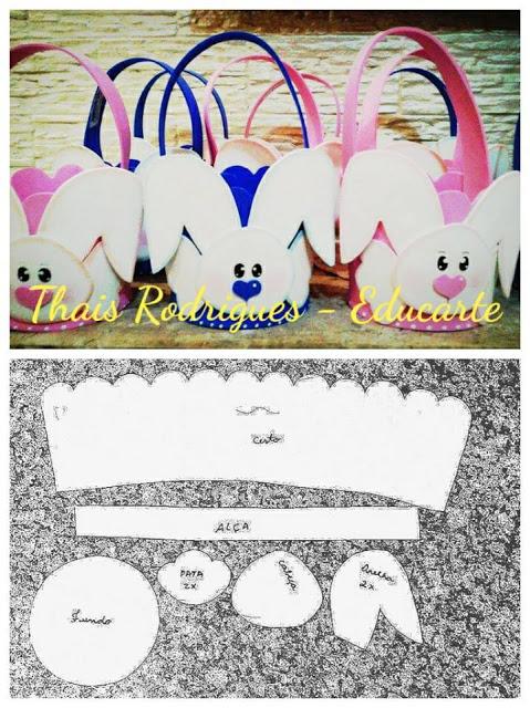 Lembrancinha para Páscoa - Cestinha de coelho