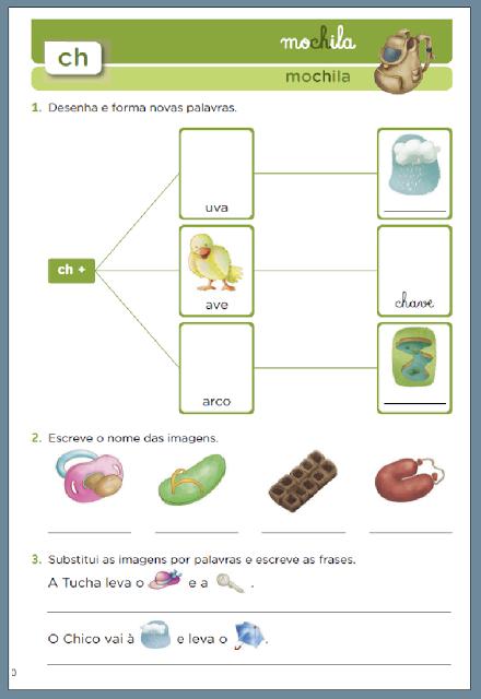 """Confira atividades educativas usando o """"CH"""" para você imprimir para seus alunos."""
