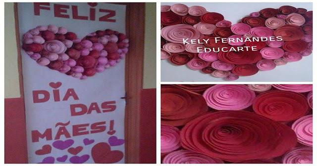 Decoração para sala de aula para trabalhar o Dia das Mães.  Porta Decorada tudo feito com colorset/cartolina dupla face.