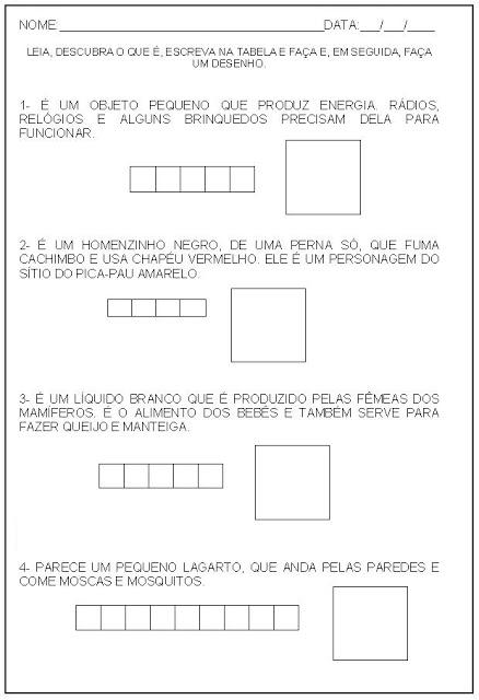 Hipótese de escrita alfabética - Alfabetização - Escreva na tabela e faça um desenho 2