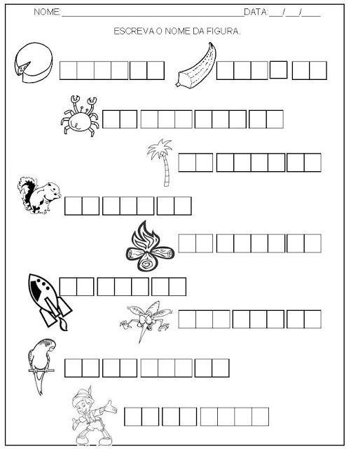 Hipótese de escrita alfabética - Alfabetização - Escreva o nome das figuras 4