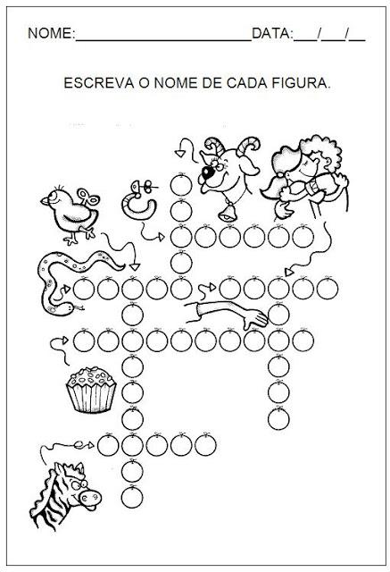 Hipótese de escrita alfabética - Alfabetização - Escreva o nome de cada figura