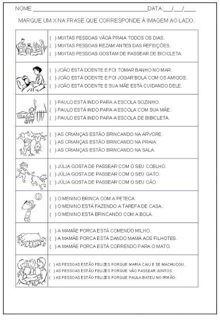 Hipótese de escrita alfabética - Alfabetização - Marque um x na frase correta