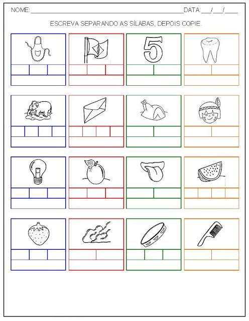 Hipótese de escrita alfabética - Alfabetização - Separe as sílabas e escreva o nome das palavras 3