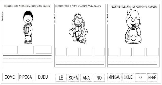 Atividades prontas para imprimir para trabalhar a alfabetização com alunos do segundo ano do Ensino Fundamental. São exercícios para formar frases.