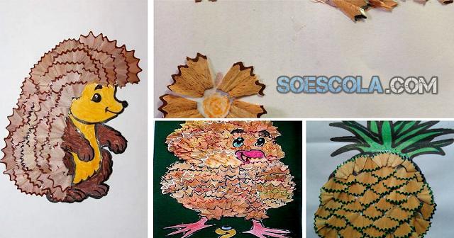 sugestões de Atividades com raspas de lápis de cor. Confira esses lindo trabalhos feitos com raspas de lápis.