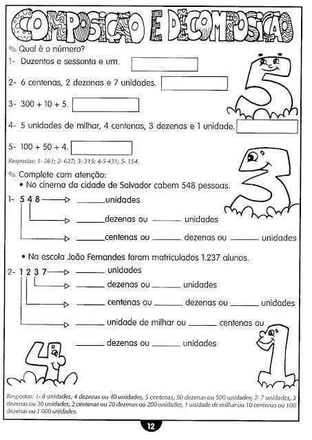 Atividades de Matemática - 3º e 4º ano