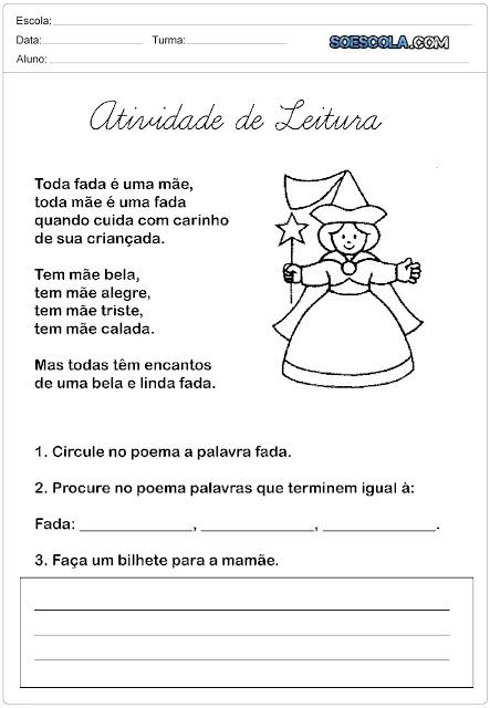 Confira Atividades pronta para imprimir para trabalhar o Dia das Mães com poema.