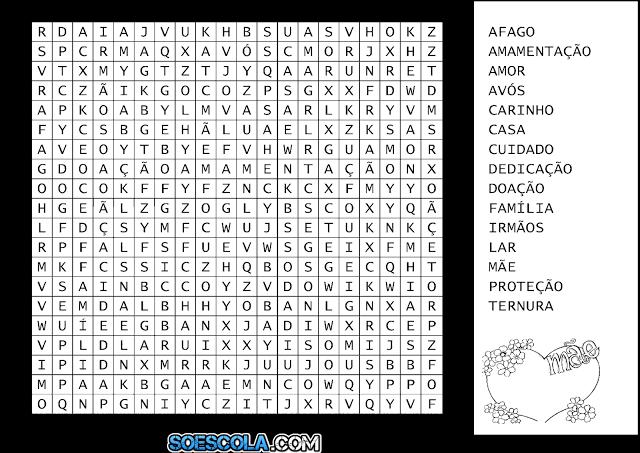Confira atividades de Caça-Palavras pronta para imprimir para trabalhar o Dia das Mães.