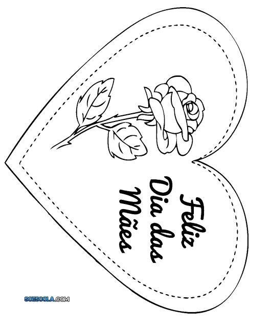 Modelos de cartões do Dia das Mães para imprimir e colorir