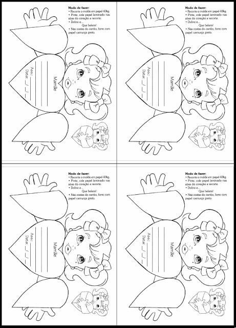 Confira nesta postagem um modelo de cartão para o Dia das Mães para colorir e recortar em formato de coração abre e fecha.