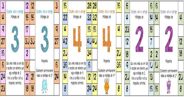 cartões com os múltiplo de 2 a 9 para ajudar a explorar a tabuada da multiplicação nos alunos de séries iniciais.