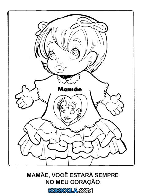Desenhos para colorir do Dia das Mães – Menino e Menina