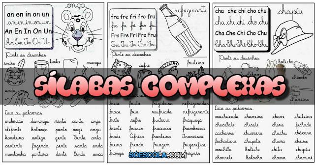 19 Fichas de Leitura com Sílabas Complexas prontas para imprimir e aplicar em sala de aula, com vários desenhos ilustrativos para colorir.