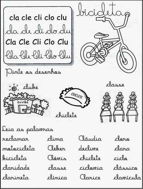 Fichas de Leitura com Sílabas Complexas