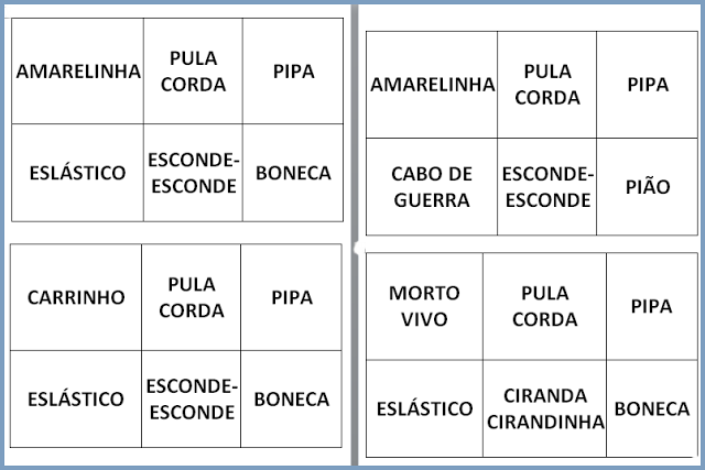 jogo do bingo das brincadeiras que tem como objetivo de incentivar a percepção de leitura, desenvoltura, associação imagem/palavra e a socialização das crianças no trabalho em equipe.