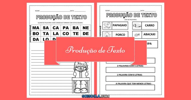 Atividades para imprimir - Produção de Texto