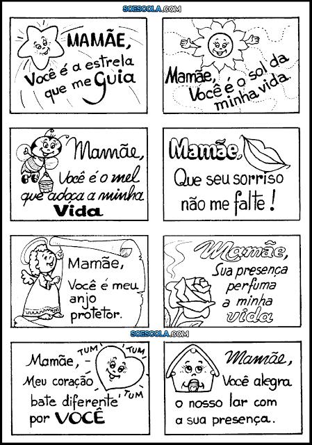 Figurinhas com recados e mensagens curtas para o Dia da Mães para imprimir