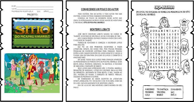Confira atividades prontas para imprimir que trabalham o Sítio do Pica Pau Amarelo. São excelentes sugestões de exercícios para trabalhar no dia 18 de Abril - Dia Nacional do Livro Infantil.