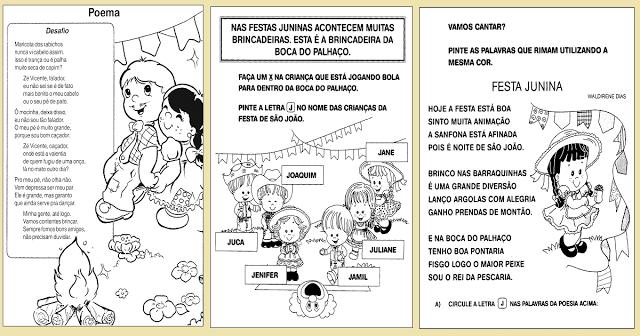 10 sugestões de atividades de alfabetização prontas para imprimir para trabalhar Festa Junina.