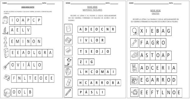 Atividades para Alfabetização - Mexe-Mexe de palavras