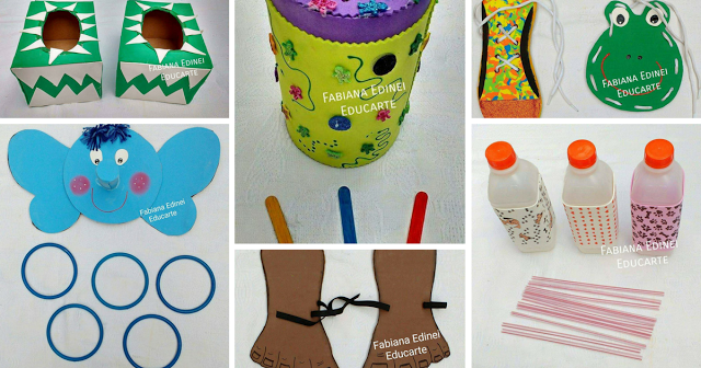 Atividades simples para coordenação motora das crianças.   Reciclando garrafinhas, papelões, palitos, latas de achocolatados, canudinhos e caixas de sapatos.