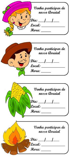 Convites coloridos para festa junina - Achei uma gracinha estes mini convites para imprimir e usar nas festas juninas.