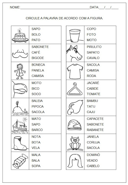 Atividades para Alfabetização - Hipótese de escrita silábica sem valor sonoro