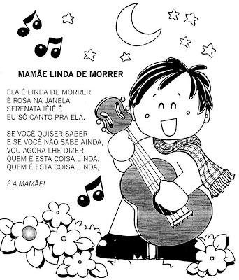 Confira algumas músicas, poesias e quadrinha ilustrada para trabalhar no Dia das Mães, com vários desenhos para colorir.