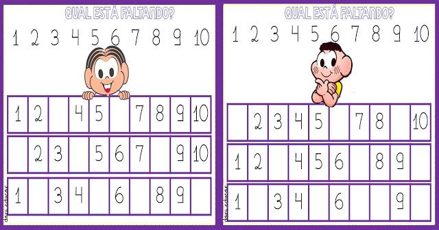 Sequencia numérica 1 ao 10 ilustrado para imprimir