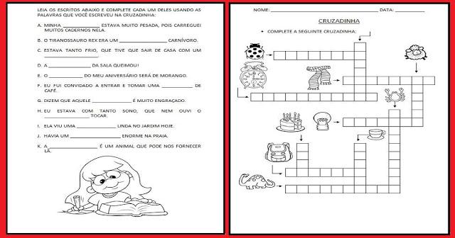 Cruzadinha para Imprimir e Atividades Alfabetização
