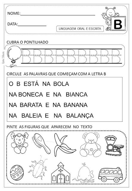 Atividades letra B para alfabetização