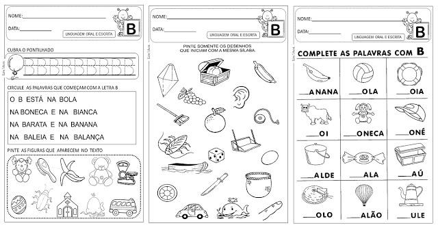 Atividades letra B para alfabetização indicadas a alunos da Educação Infantil.