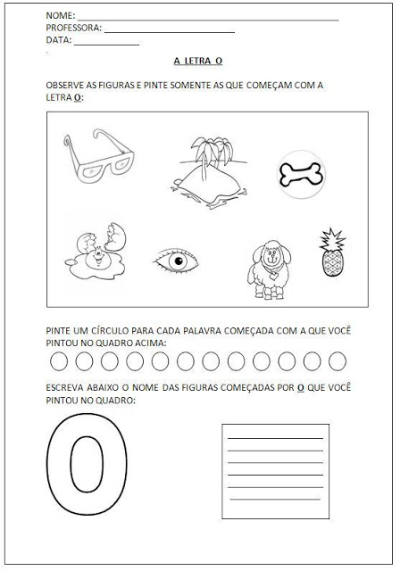 Atividades para Alfabetização - Pinte as figuras e escreva os nomes